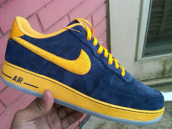 navy blue and yellow air force ones