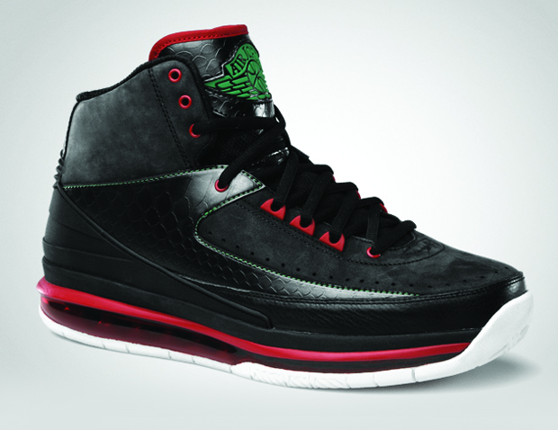 Air Jordan 2.0 Black / Classic Green Varsity Red White (1)