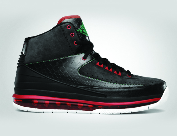 Air Jordan 2.0 Black / Classic Green Varsity Red White (2)