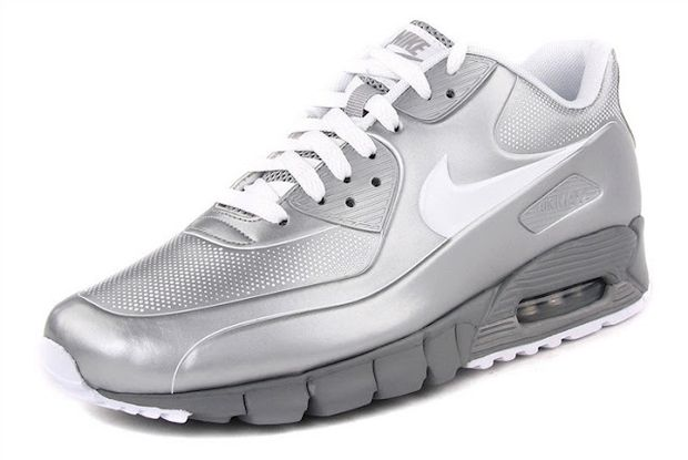 nike air max 90 current vt lsr metallic silver/white