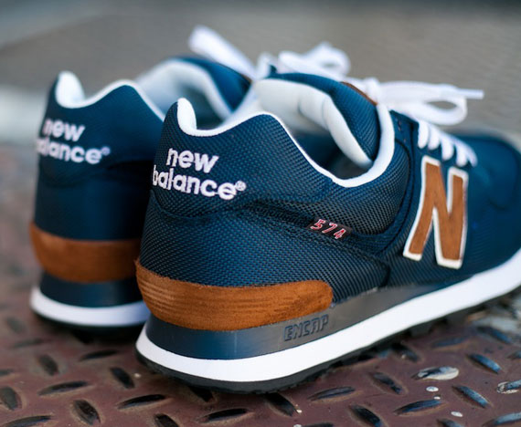new balance 574 brown and blue