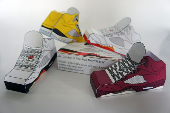 Air Jordan V Paper toys by Erwan | Throwback Sneakers | DIY