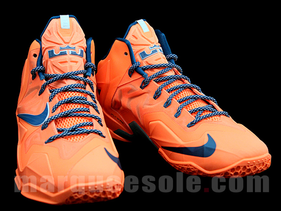Nike LeBron 11 White Blue Orange