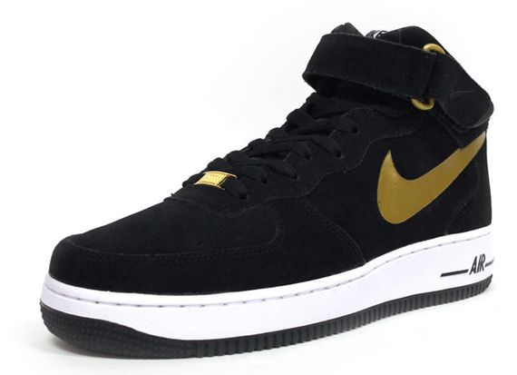 nike-air force 1 mid-black-gold-white