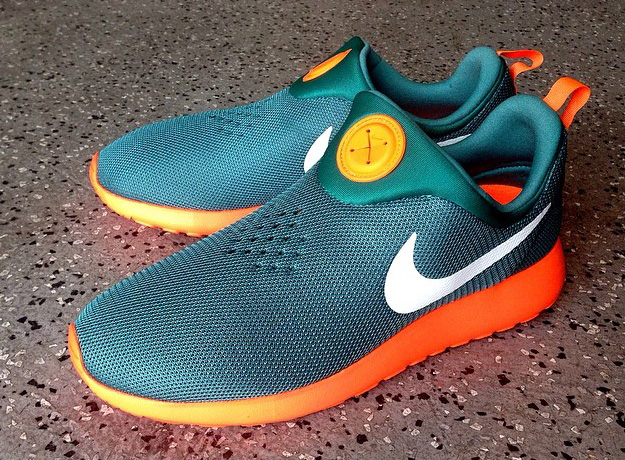 mens nike roshe run slip green orange