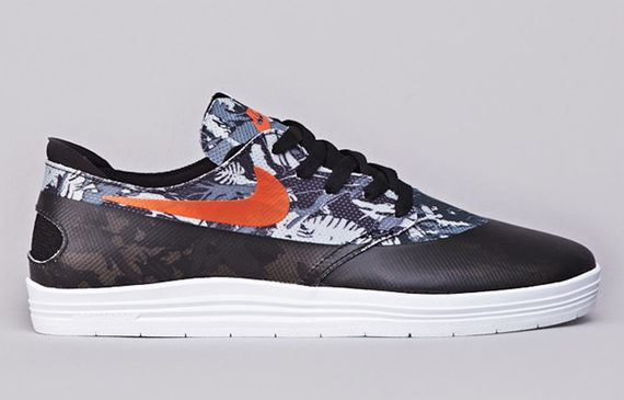 nike sb-lunar-one shot-floral-safety orange