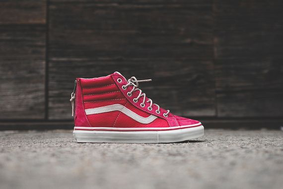 vans vault-red white-zip lx