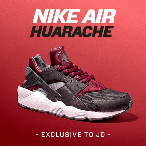 jd sports-nike-air huarache-black-burgundy