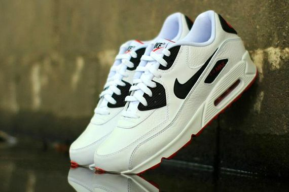 nike-air max 90 leather-white-black-red