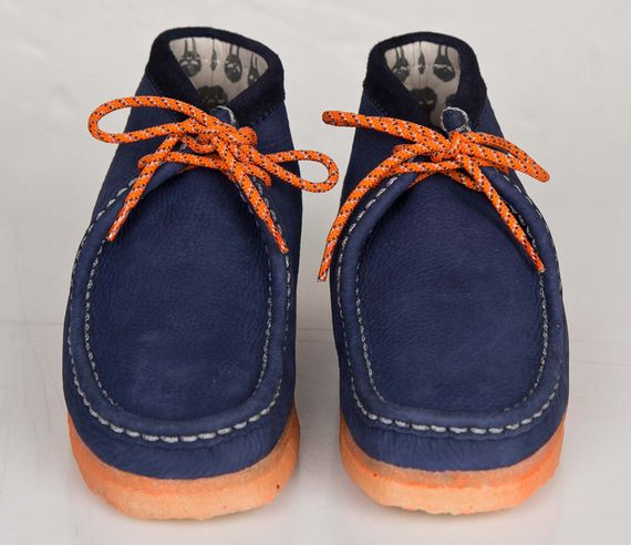 mf doom-clarks-wallabee-navy-orange
