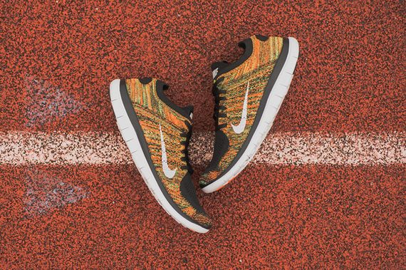 nike-free 4.0 flyknit-poison green-total orange