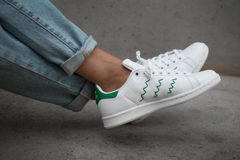 stan smith zig zag white-green
