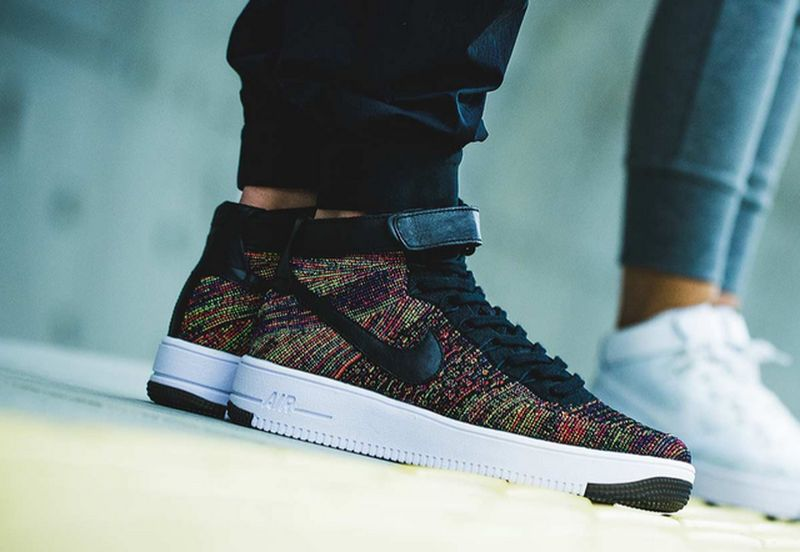 newest 206e6 365d7 Nike Air Force 1 Flyknit Black Multicolor