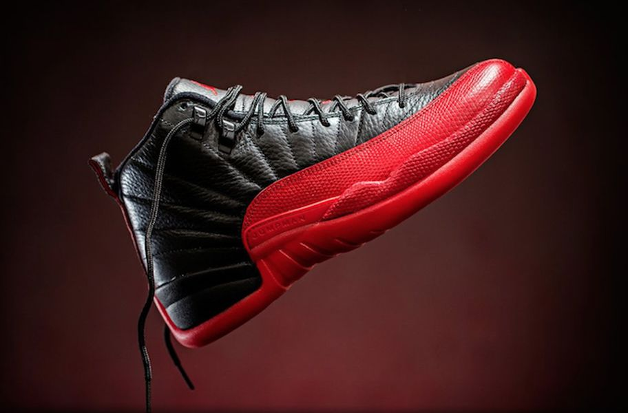 Mens Air Jordan Retro 12 Flu Game Black Red shoes