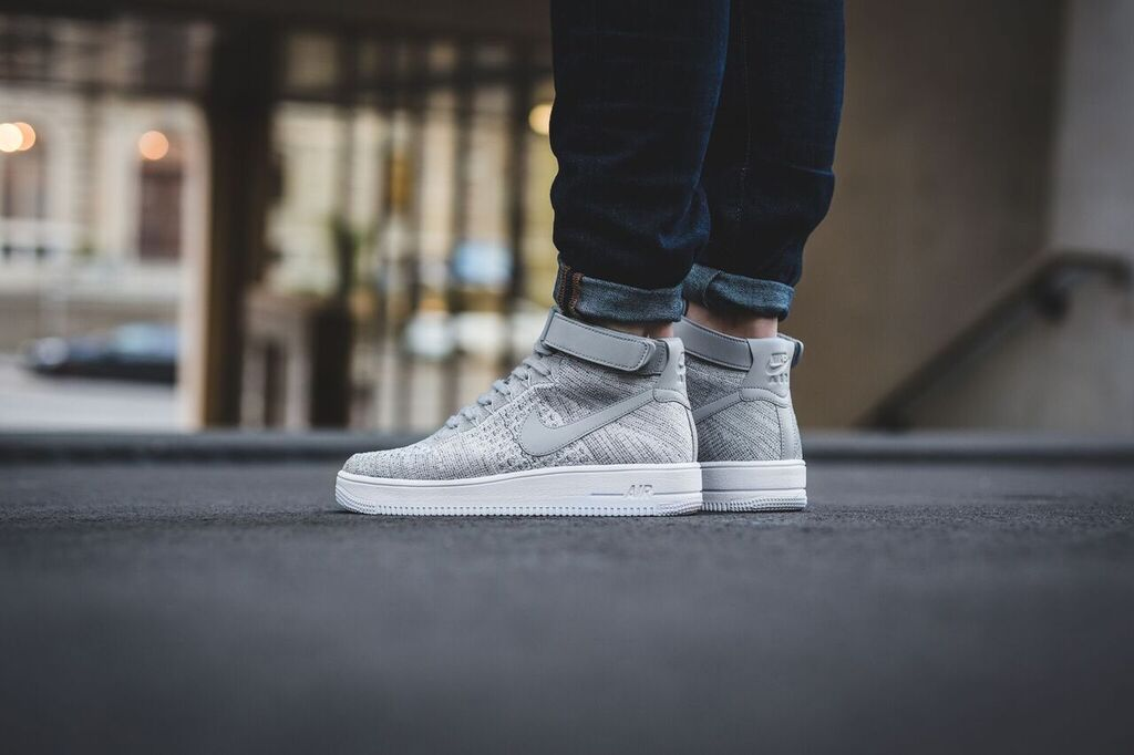Nike Air Force 1 Ultra Flyknit Mid (Wolf Grey Wolf Grey White)