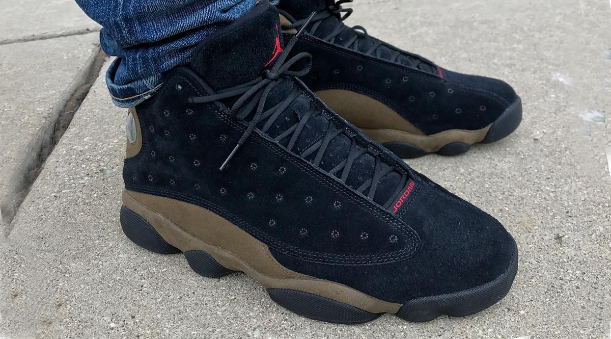 ba4aa32de0a While we wait for an official release date on the Air Jordan 13 Olive, we  finally get a first look on foot of a colorway that started as a photoshop  almost ...