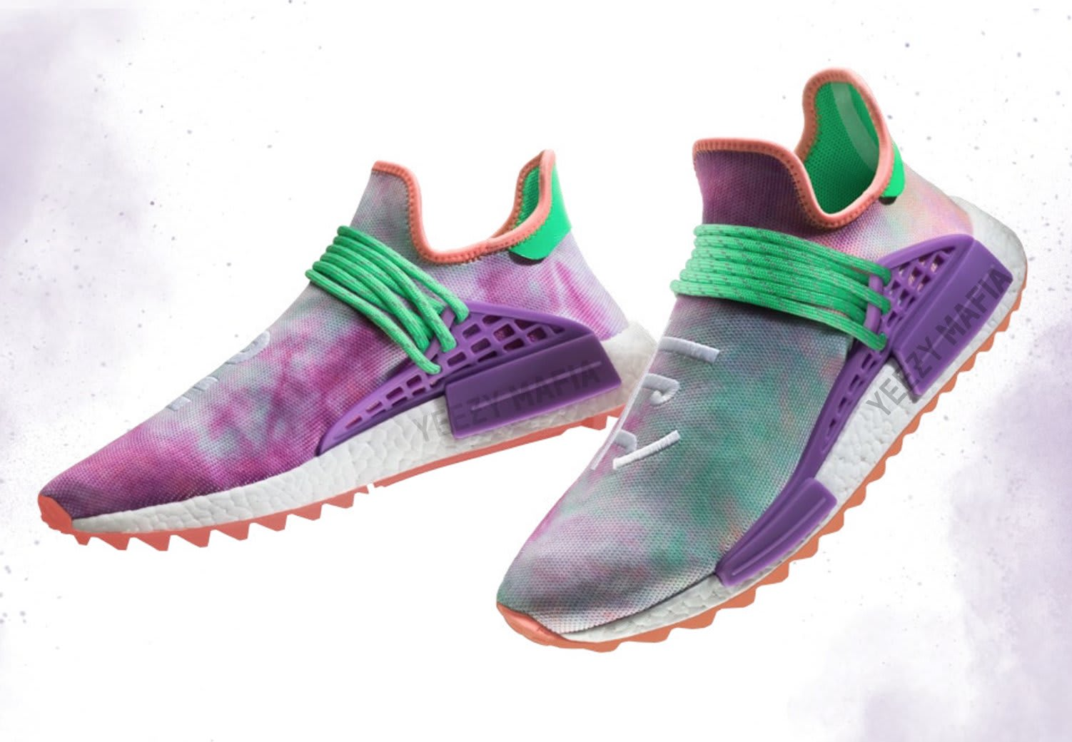 bbba6f95bf745 Pharrell x Adidas NMD Hu Trail Holi Release Date  03 02 18. Color  Chalk  Coral Flash Green-Lab Purple Style    AC7034 Price   250