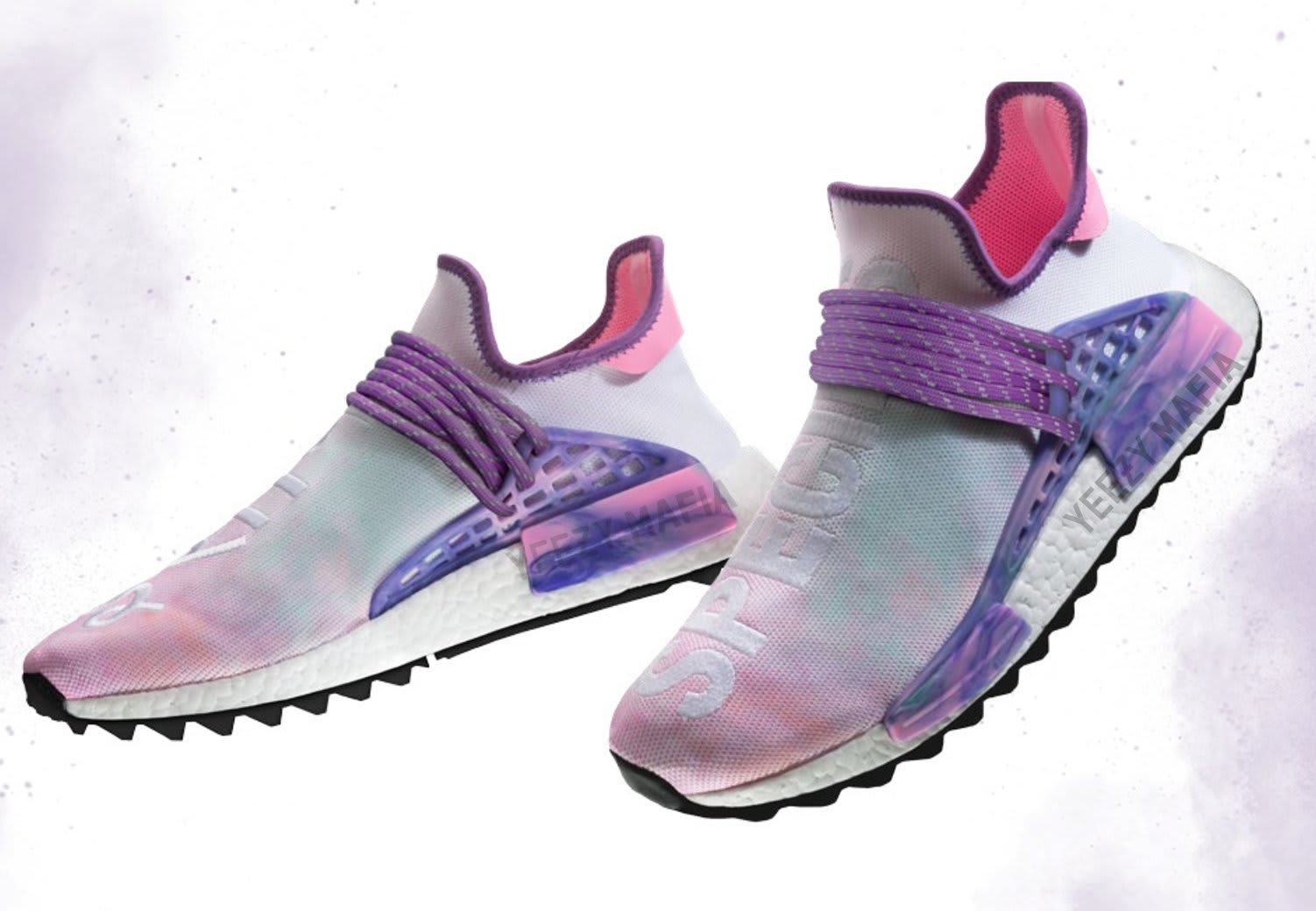 31009e96bfe67 Pharrell x Adidas NMD Hu Trail Holi Release Date  03 02 18 Color  Pink  Glow Flash Green-Lab Purple Style    AC7362 Price   250