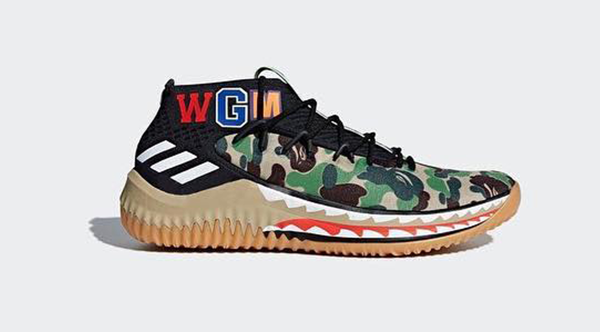 Bape moreover Bape Shark Wallpaper in addition Adidas Dame 4 Bape Green Camo Pantone Running White Core Black additionally Adidas Damian Lillard Link Dame 4 Bape Collection additionally 850265604620015083. on wgm bape shoes adidas