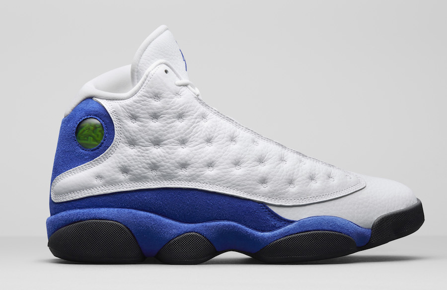 Air Jordan 13. Color: White/Hyper Royal Style Code: 414571-117. Release  Date: March 3, 2018. Price: $190