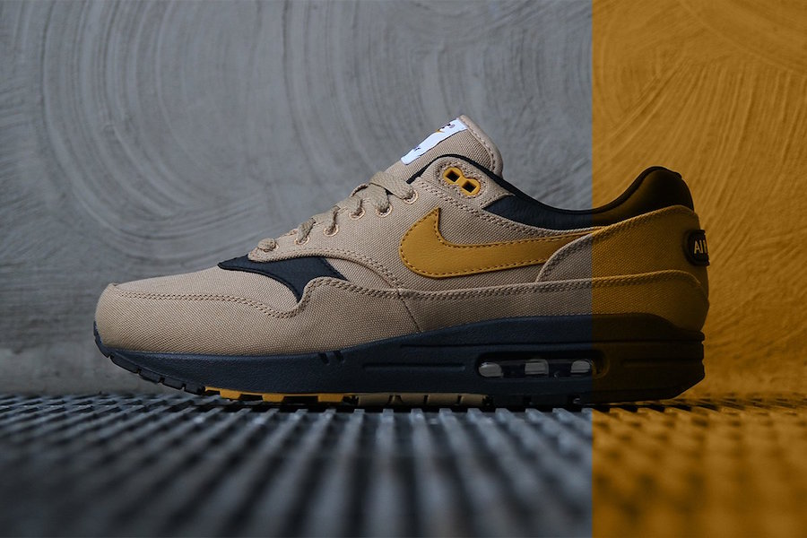the best attitude 04333 0b11b Nike Air Max 1 Premium Color  Elemental Gold Mineral Yellow-Black Style  Code  875844-700. Price   120