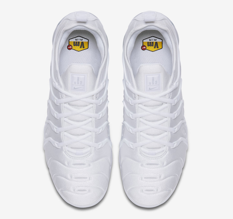 Nike VaporMax Plus Color: White/Pure Platinum Style Code: 924453-100.  Release Date: February 28, 2018. Price: $190