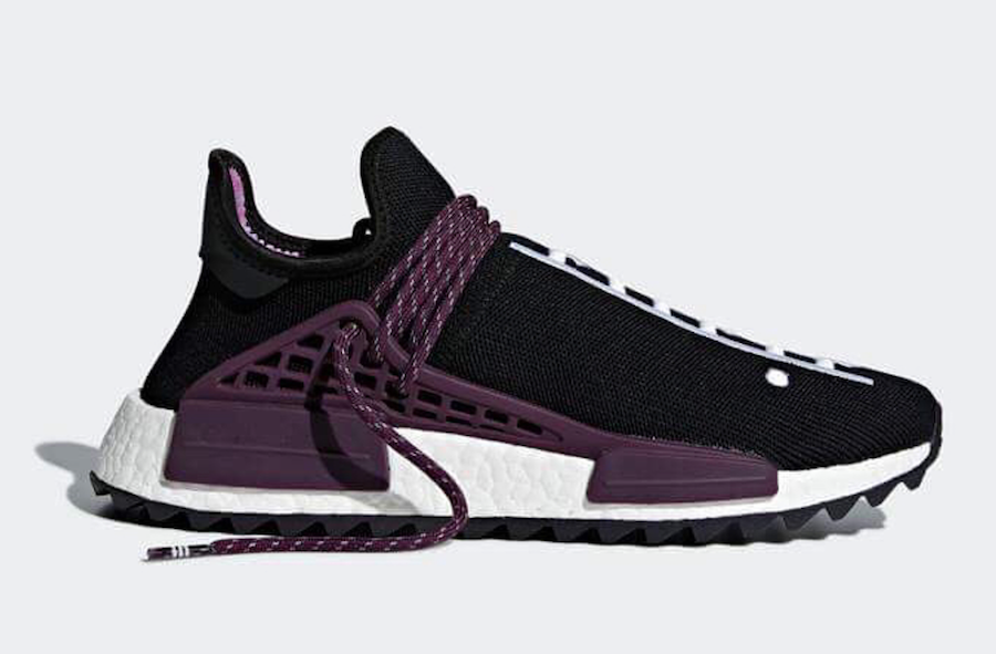 "a4b26b230216ad Pharrell x adidas NMD Hu Trail ""Equality"" Color  Core Black Deepest  Purple-Core Black Style Code  AC7033 Release Date  March 16"