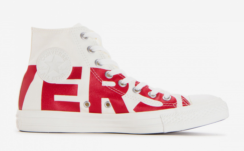 chuck taylor converse shoes logo location red