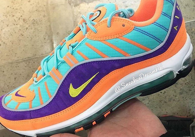 brand new 1aa0a b7619 Nike Air Max 98 QS Release Date  February 2018. Color  Cone Tour Yellow- Hyper Grape Style Code  924462-800