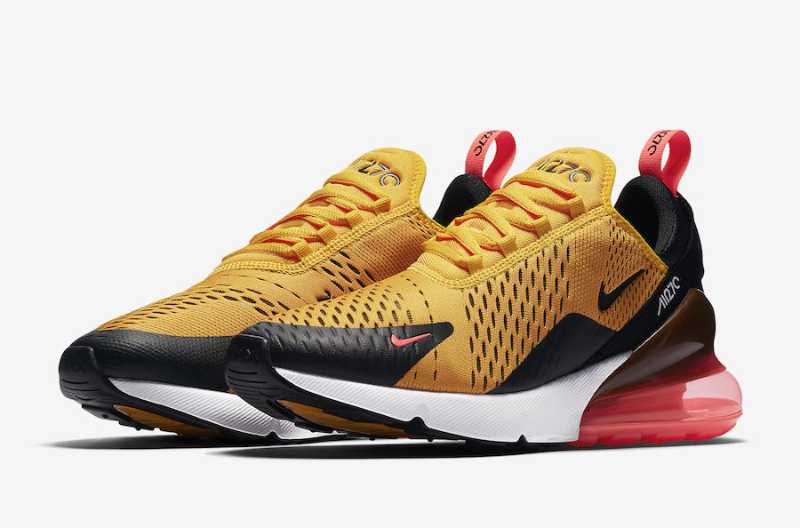df0bab9909f Nike Air Max 270. Color  Black University Gold-Hot Punch-White Style Code   AH8050-004. Release Date  March 16