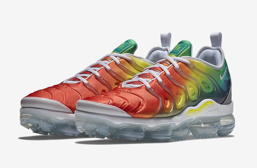 1dcbb4a146 Nike Air VaporMax Plus Color: White/Neptune Green-Dynamic Yellow-Blue  Nebula-Habanero Red Style Code: 924453-103. Release Date: April 26, 2018.  Price: $190
