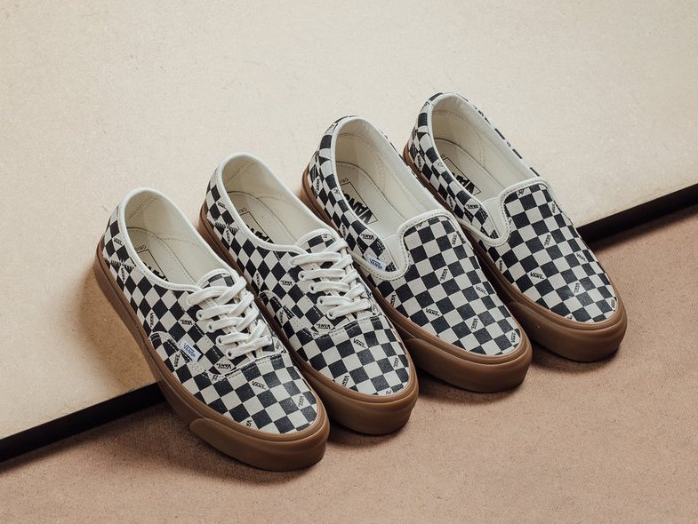 638716c7e5 Vans Vault releases a new Checkerboard Gum color way for the OG Style 43  and Slip-On 59 LX Silhouettes for Spring 2018.
