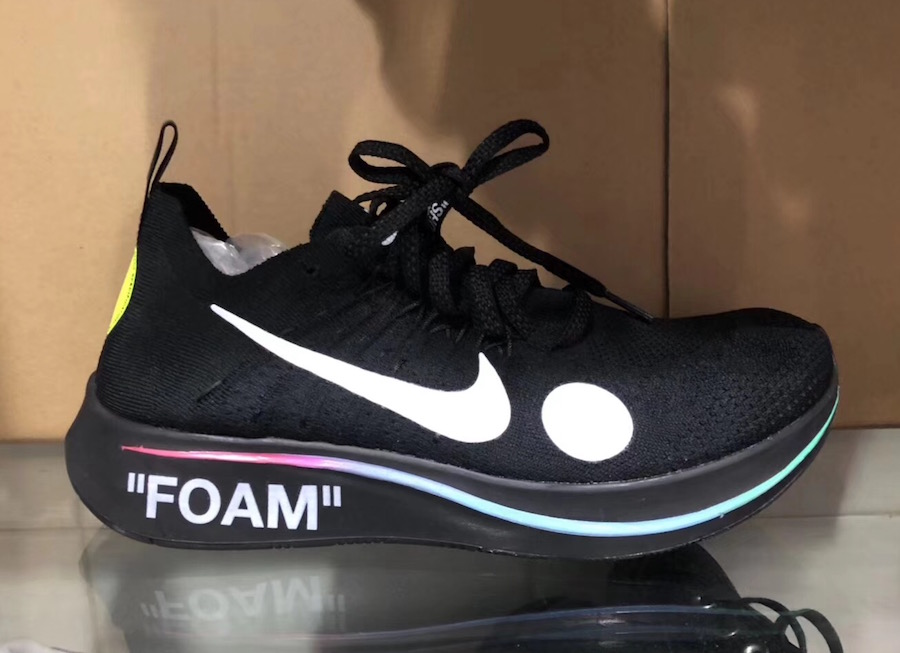 9651cae61e23 The Off-White x Nike Zoom Fly Mercurial Flyknit in Black is set to release  June 14th during the kick off of the 2018 FIFA World Cup in Russia.