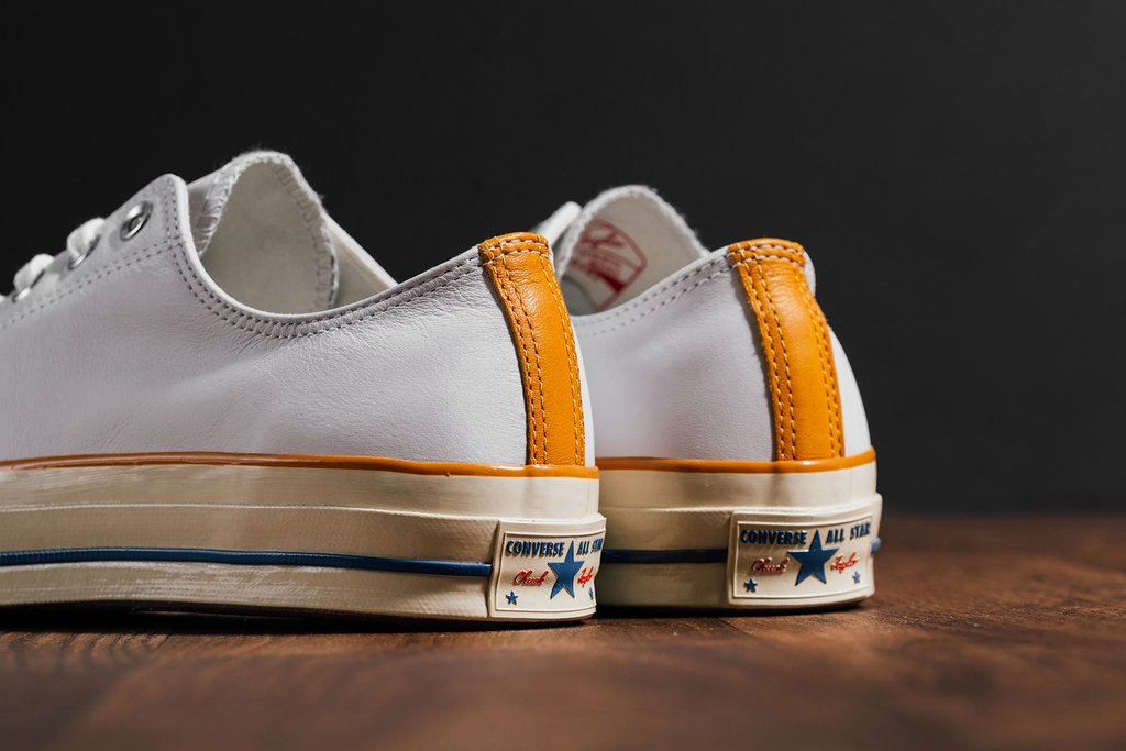 """1f5caae5caa8 The Converse Chuck  70 Low """"Leather"""" Pack is now available at select  retailers such as Feature with the retail price tag of  95 USD each."""