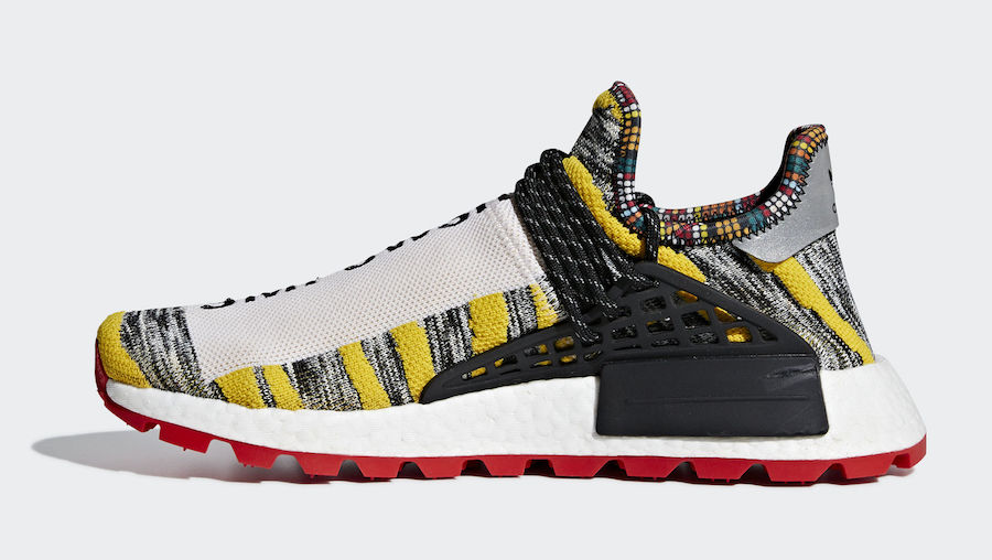 "97e6881f1 Pharrell x adidas NMD Hu ""Solar Pack"" Color  Core Black Red Style Code   BB9527 Release Date  August 18"