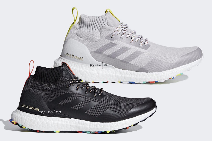 14ca75dadc94ff adidas will be bringing back the Ultra Boost mid this fall season in two  brand new colorways featuring a multi-colored outsole. Seen here are both  the black ...