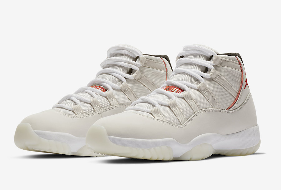 Air Jordan 11. Color  Platinum Tint Sail-University Red Style Code   378037-016. Release Date  October 27 4ca00fe2b