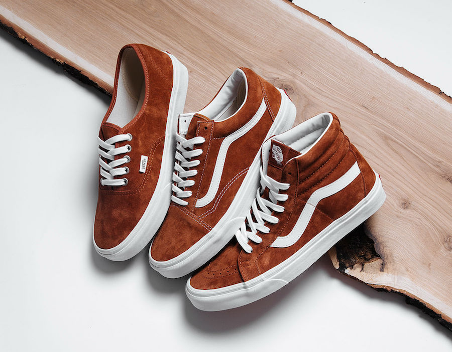 495e559766f Vans prepares us for the autumn weather ahead with three new iterations of  their classic silhouettes in a Brown pig suede leather construct.