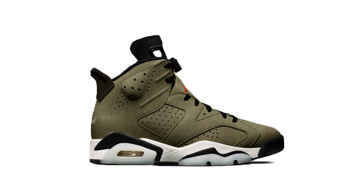12a12dd04afd Travis Scott x Air Jordan 6. Color  Medium Olive Black-Sail-University Red  Release Date  Spring Summer 2019