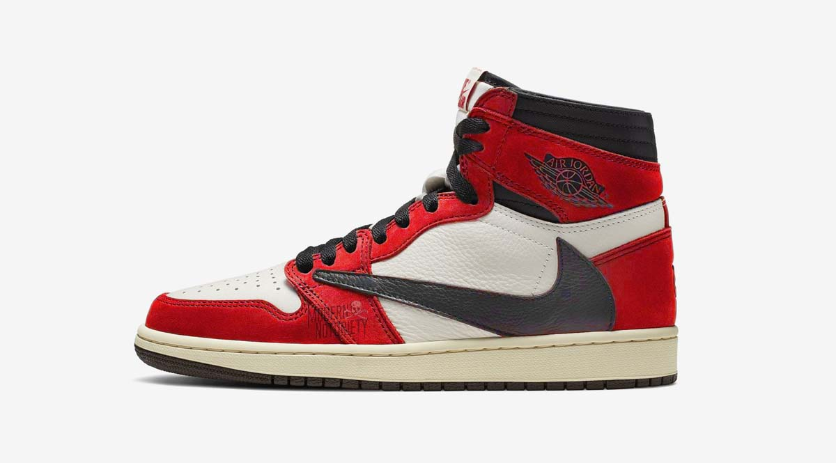 """e6cdd0b6b8f2 Jordan Brand and Travis Scott may be continuing the reverse swoosh series  with another colorway inspired by the signature """"Chicago"""" Air Jordan 1  iteration."""