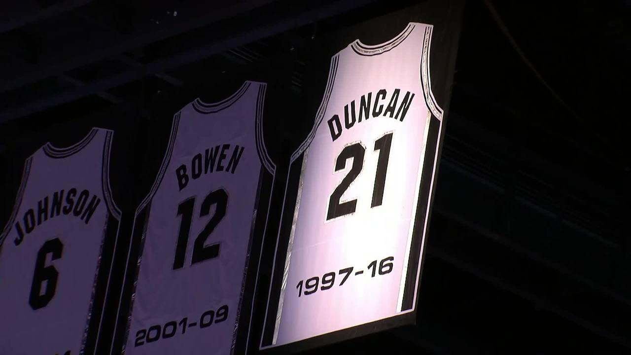 Tim Duncan's jersey hanging in the rafters