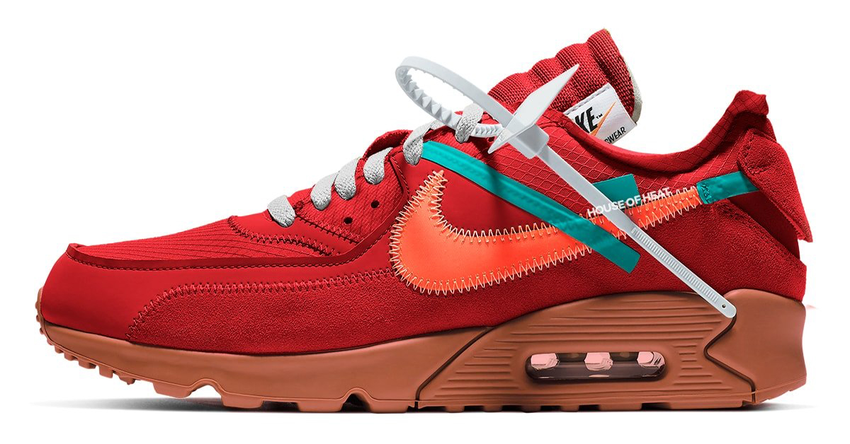 Off White X Nike Air Max 90 University Red